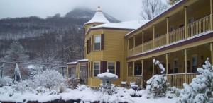 snow outside of the inn