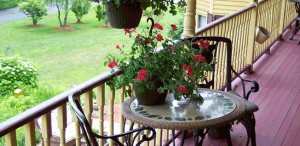 patio with flowers